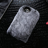 Luxury Rabbit Furry Shell Smooth Rhinestone Plush Phone Case Back Cover for iPhone 11 Pro Max/11 Pro/11/XS Max/XR/XS/X/8 Plus/8/7 Plus/7/6s Plus/6s/6 Plus/6 - caseative