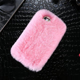 Luxury Rabbit Furry Shell Smooth Rhinestone Plush Phone Case Back Cover for iPhone SE/11 Pro Max/11 Pro/11/XS Max/XR/XS/X/8 Plus/8/7 Plus/7/6s Plus/6s/6 Plus/6 - caseative