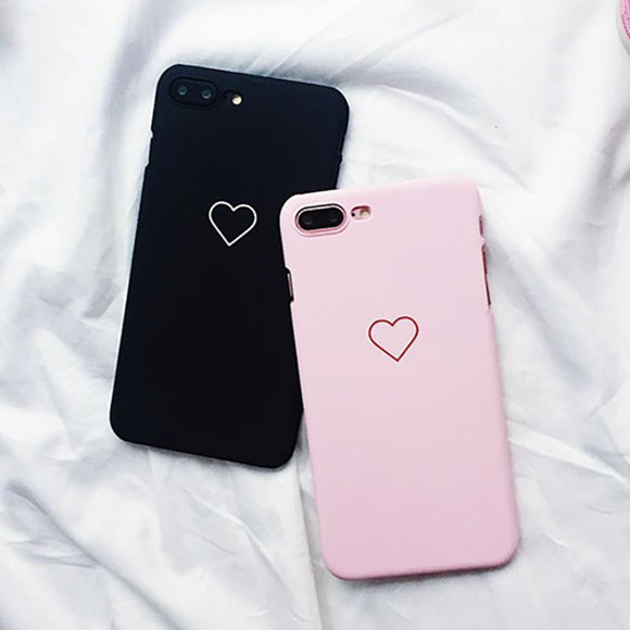 Ladycases - Phone Case Expert - Love Heart Graphic Ultra Thin Matte Hard PC Phone Case Back Cover for iPhone X/8 Plus/8/7 Plus/7/6s Plus/6s/6 Plus/6