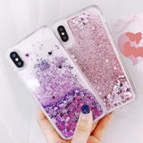 Love Heart Liquid Shining Quicksand Glitter Cute Soft Phone Case Back Cover for iPhone SE/11 Pro Max/11 Pro/11/XS Max/XR/XS/X/8 Plus/8/7 Plus/7/6s Plus/6s/6 Plus/6 - caseative