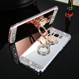 Cute Glitter Mirror Rhinestone Ring Holder Phone Case Back Cover for Samsung Galaxy S10E/S10 Plus/S10/S9 Plus/S9/S8 Plus/S8/Note9/Note8 - caseative