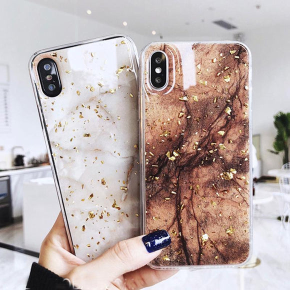 Ladycases - Phone Case Expert - Luxury Gold Foil Bling Marble Soft TPU Phone Case Back Cover for iPhone X/8 Plus/8/7 Plus/7/6s Plus/6s/6 Plus/6