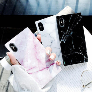 Square Marble Texture Pattern Glossy Soft TPU Silicone iPhone Case