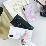 Ladycases - Phone Case Expert - Square Marble Texture Pattern Glossy Soft TPU Silicone Phone Case Back Cover for iPhone X/8 Plus/8/7 Plus/7/6s Plus/6s/6 Plus/6