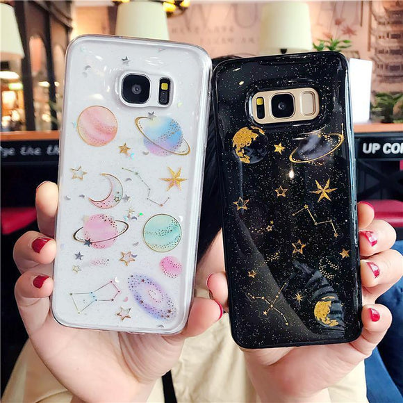 Ladycases - Phone Case Expert - Luxury Glitter Space Planet Stars Shining Transparent Soft TPU Phone Case Back Cover for Samsung Galaxy S9 Plus/S9/S8 Plus/S8/S7 Edge/S7