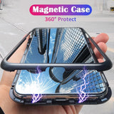 Magnetic Adsorption 360 Full Body Metal Tempered Glass Phone Case Back Cover for iPhone SE/11 Pro Max/11 Pro/11/XS Max/XR/XS/X/8 Plus/8/7 Plus/7/6s Plus/6s/6 Plus/6 - caseative