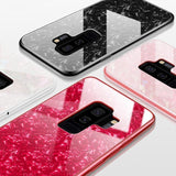 Luxury Tempered Glass Silicone Frame Bling Shell Phone Case Back Cover for Samsung Galaxy S20 Ultra/S20 Plus/S20/S10E/S10 Plus/S10/S9 Plus/S9/S8 Plus/S8/Note 10 Pro/Note 10/Note 9/Note 8 - caseative