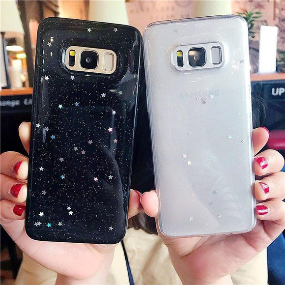 Glitter Sparkling Stars Transparent Soft TPU Phone Case Back Cover for Samsung Galaxy S9 Plus/S9/S8 Plus/S8/S7 Edge/S7 - caseative