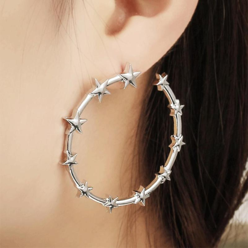 The Stars Around Me -  Star Hoop Earrings - Gold and Silver