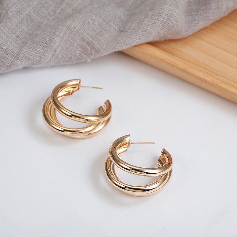 Three is Company - Over-sized Gold Hoop Earrings