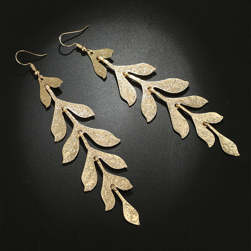 Straight Off The Tree - Gold Leaf Dangle Earrings