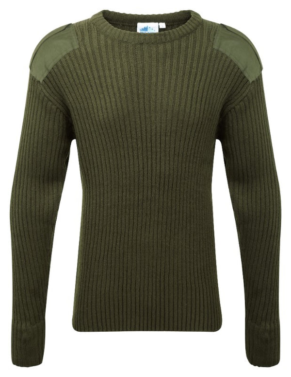 Fort Crew Neck Combat Jumper - Olive Green