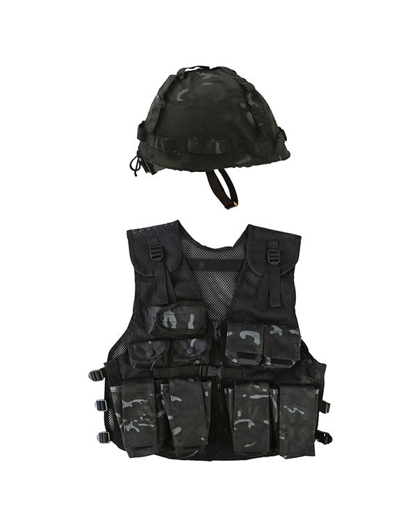 Kids Assault Vest & Helmet Set - BTP Black