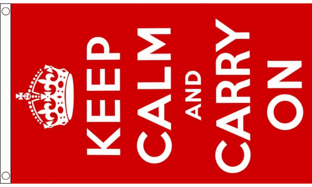 Keep Calm And Carry On (Red) Flag