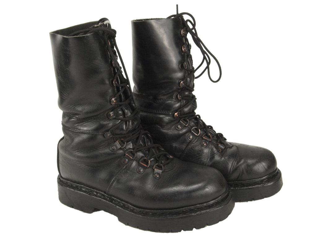 Austrian Army Black Leather Combat Boots