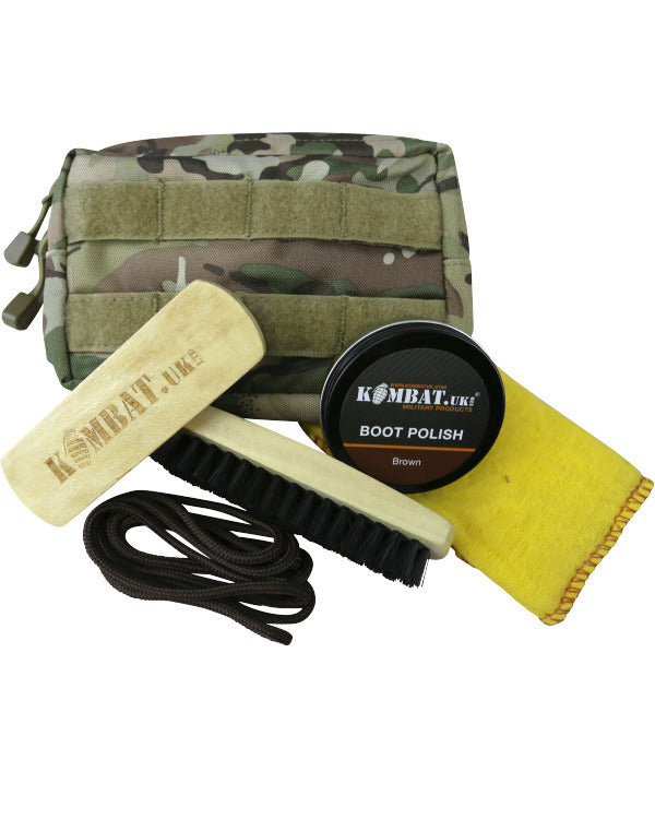 Kombat Deluxe Molle Boot Care Kit (Black Polish & Laces)