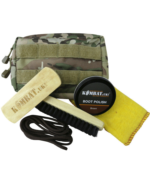 Kombat Deluxe Molle Boot Care Kit (Brown Polish & Laces)
