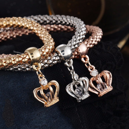 Crystal Owl Crown Charm Bracelets & Bangles Elephant Anchor Pendants - Fab Fashion Hub - FFH