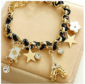 Fashion Flower Love poker Eiffel Tower Bracelet - Fab Fashion Hub - FFH