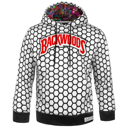 White and Black Backwoods Hoodie