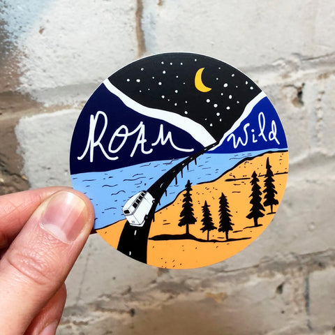 sticker, roam wild designs, vinyl sticker