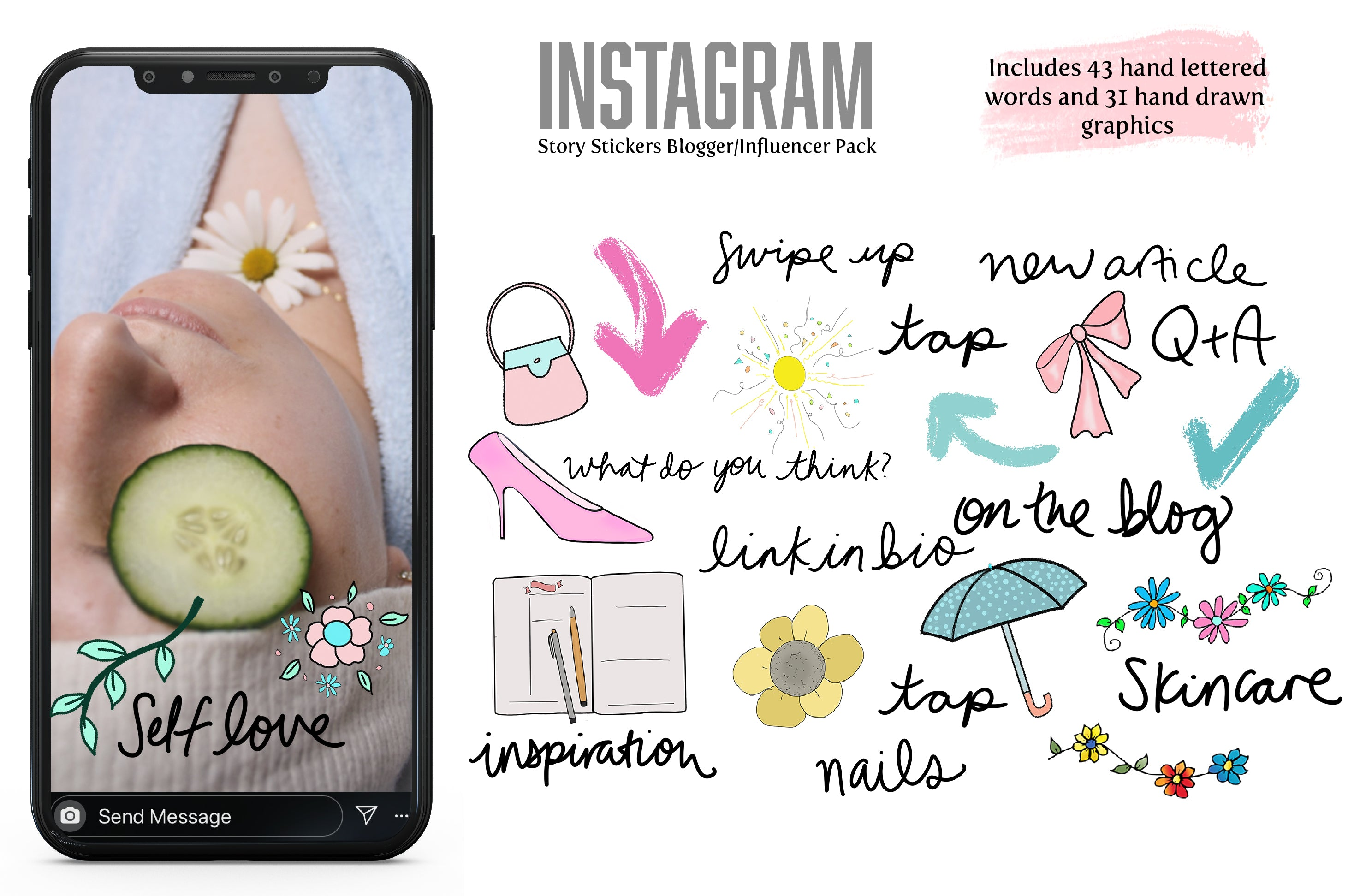 Digital Stickers: Blogger/Influencer Pack for Instagram Stories and Goodnotes-Roam Wild Designs