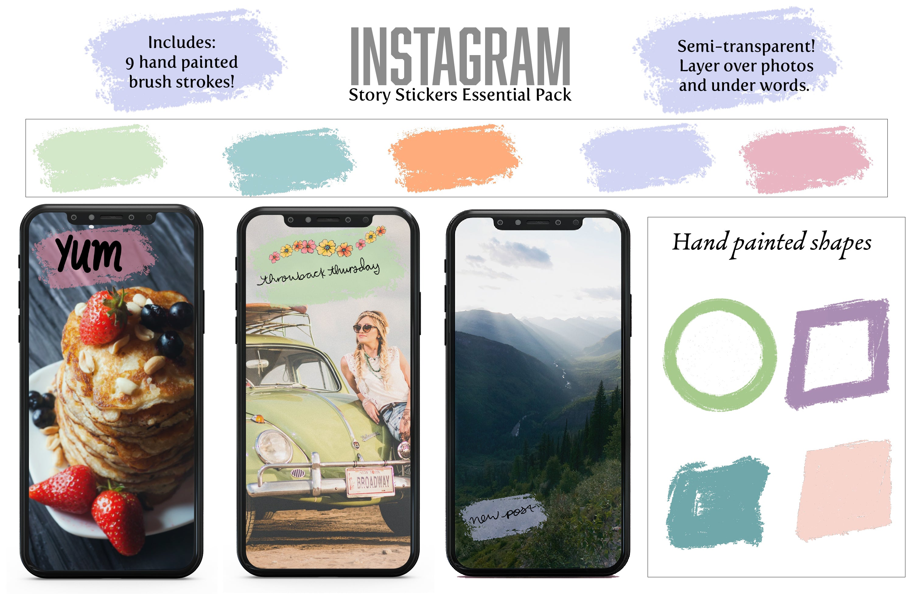 Instagram Digital Story Stickers: Essentials Pack - Hand Illustrated Graphics for your IG stories-Roam Wild Designs