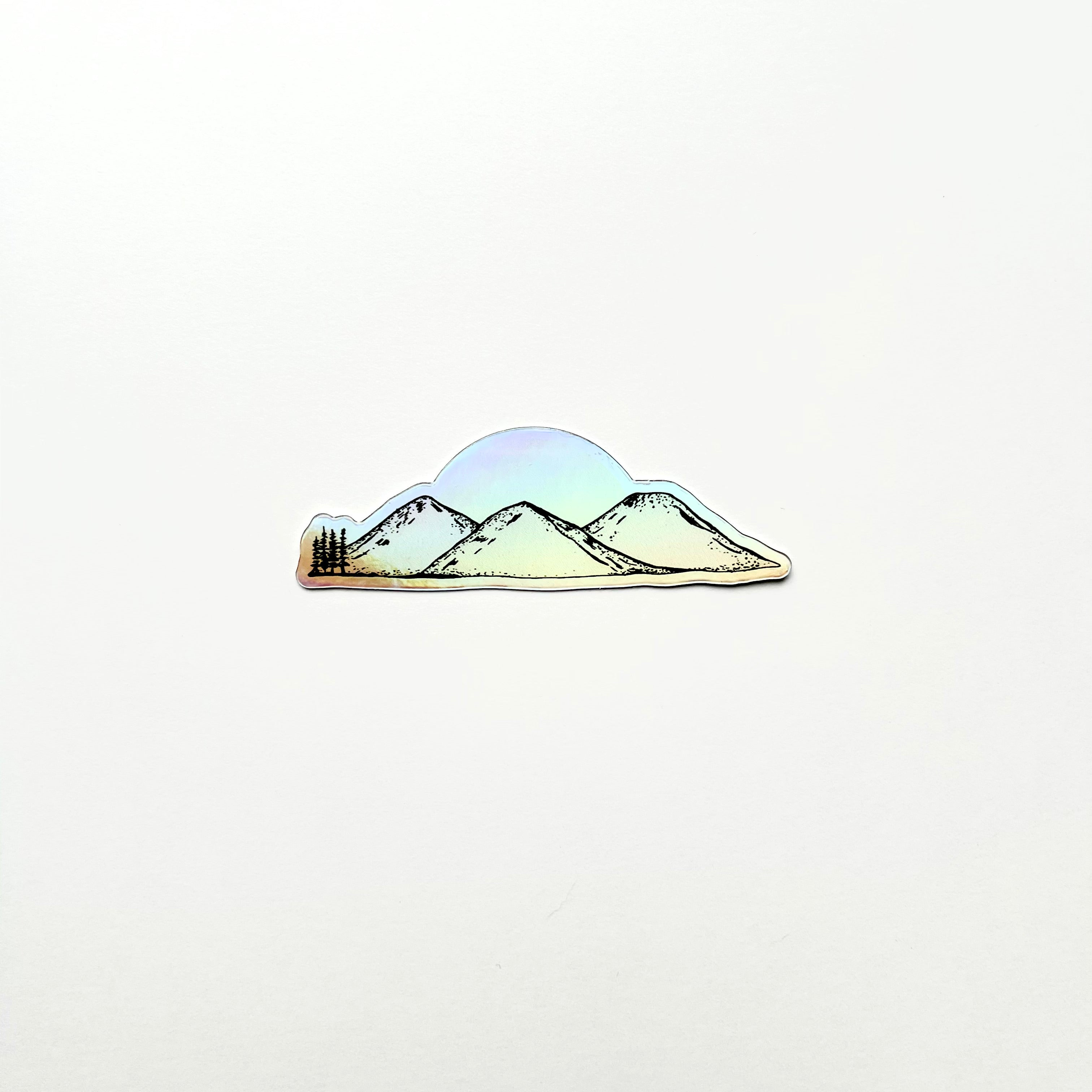 3 Mountains Holographic Sticker-Vinyl Sticker-Roam Wild Designs