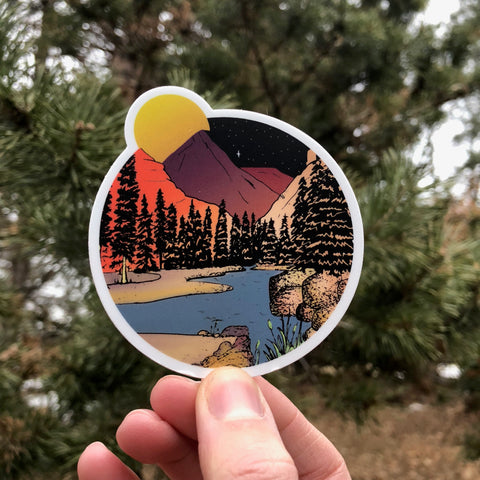 Mountains in the Moonlight sticker. Colorful original illustration of secluded mountain and stream at sunset.