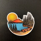 Sunset at the mountain lake vinyl sticker