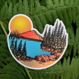 Sunset at the mountain lake sticker