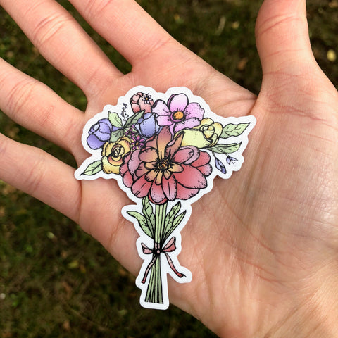 hand drawn bouquet flower sticker