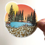 Flowers at the Lake-Vinyl Sticker-Roam Wild Designs