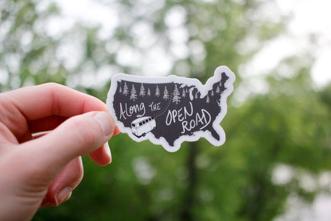 Along the Open Road Sticker-Vinyl Sticker-Roam Wild Designs