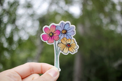 Neon Daisy Flower Sticker
