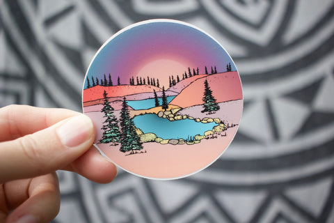Pink sunset over the hills hand drawn sticker
