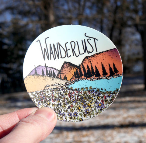 Mountains & Wanderlust Sticker-Vinyl Sticker-Roam Wild Designs