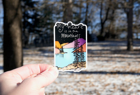 Heart in Mountains Sticker