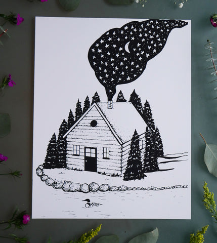 Cabin in the Woods Black and White Art Print-Print-Roam Wild Designs