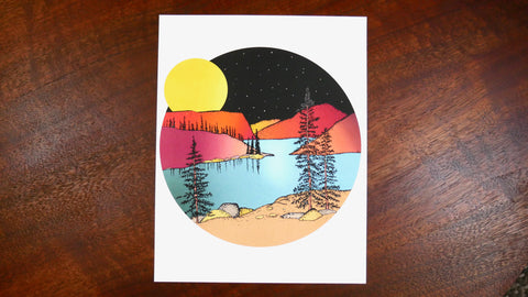 Full Moon Over the Mountains Illustrated Print-Print-Roam Wild Designs