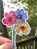 Brightly colored neon daisy flower sticker. Vinyl flower sticker.