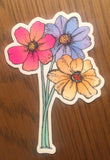 Brightly colored neon daisy flower sticker