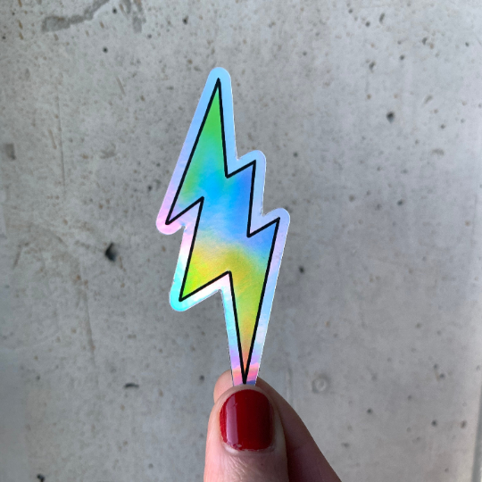 Lightening Bolt Holographic Sticker-Vinyl Sticker-Roam Wild Designs