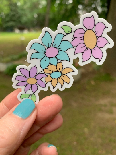 Pretty Pastel Flowers Sticker-Vinyl Sticker-Roam Wild Designs