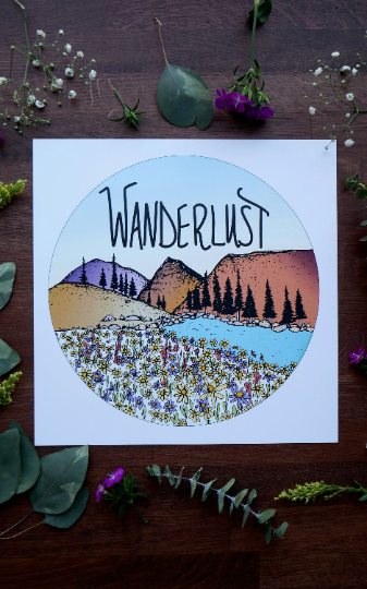 Wanderlust & Mountains Art Print-Print-Roam Wild Designs