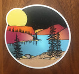 Full Moon Over the Mountains-Vinyl Sticker-Roam Wild Designs