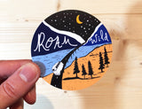roam wild art travel sticker
