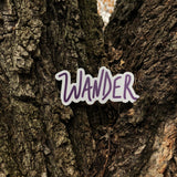 wander hand lettered sticker