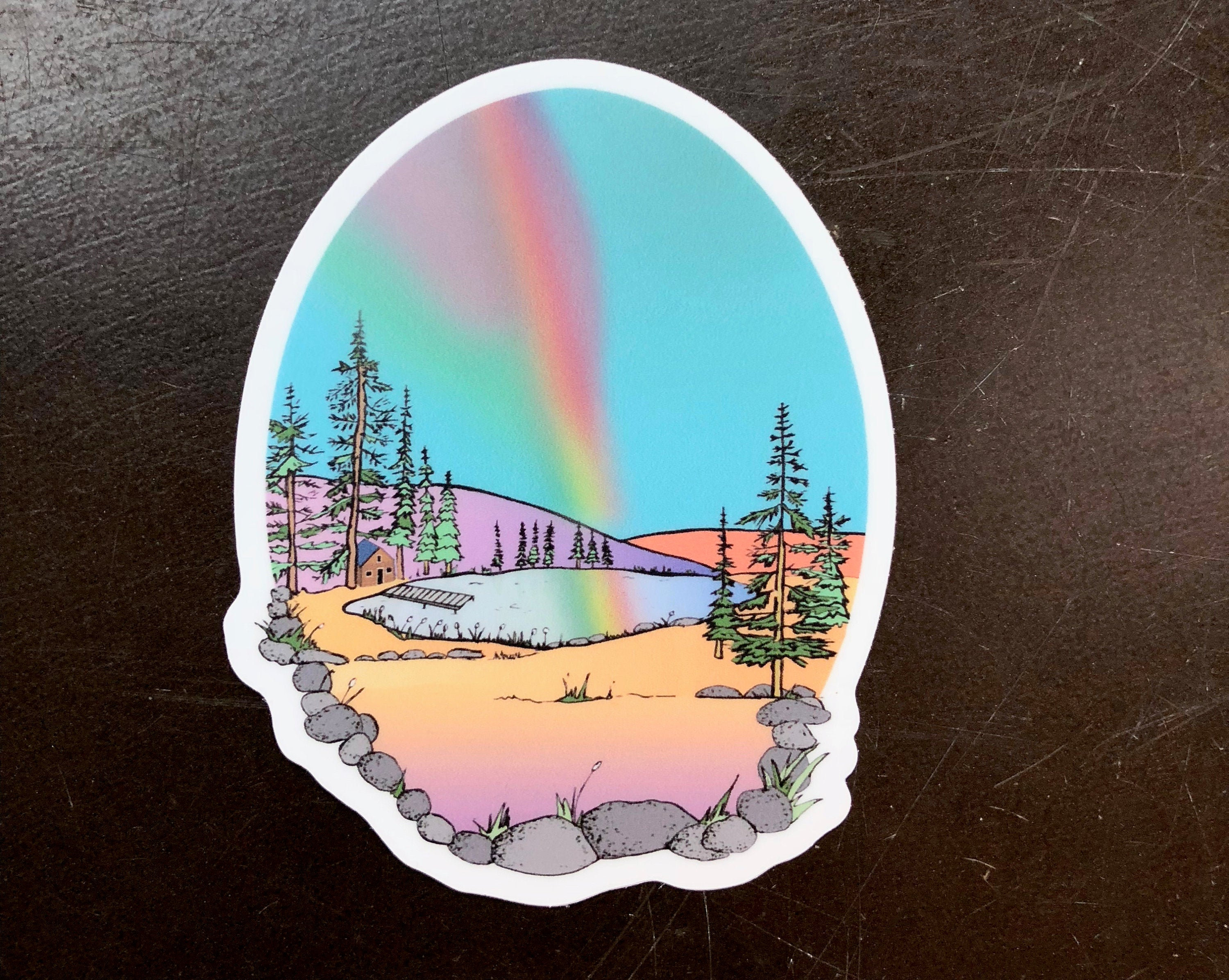 Rainbow Cabin Sticker-Vinyl Sticker-Roam Wild Designs