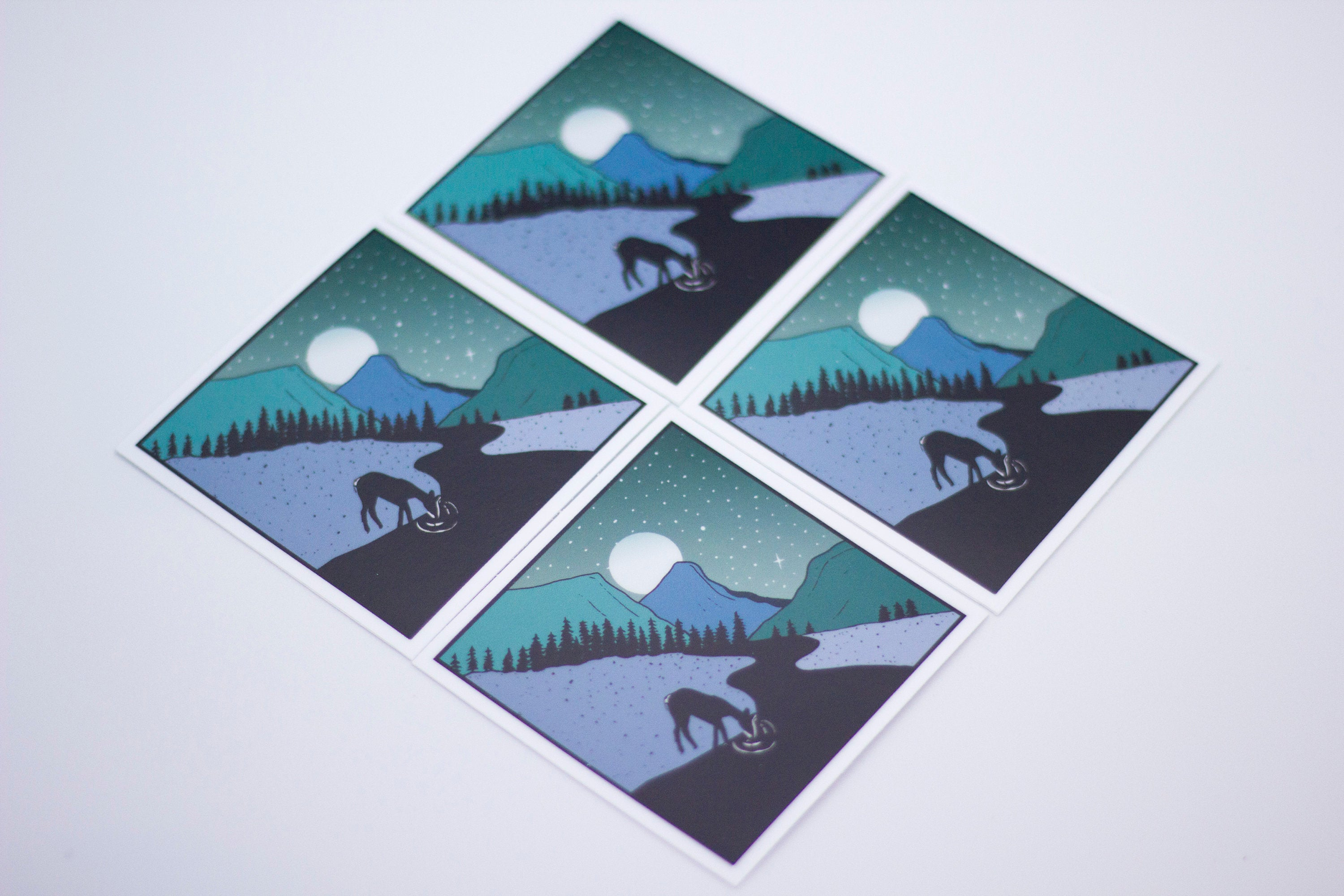 Diamond Deer Blues Sticker-Vinyl Sticker-Roam Wild Designs